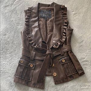 Brown Leather Ruffle Vest